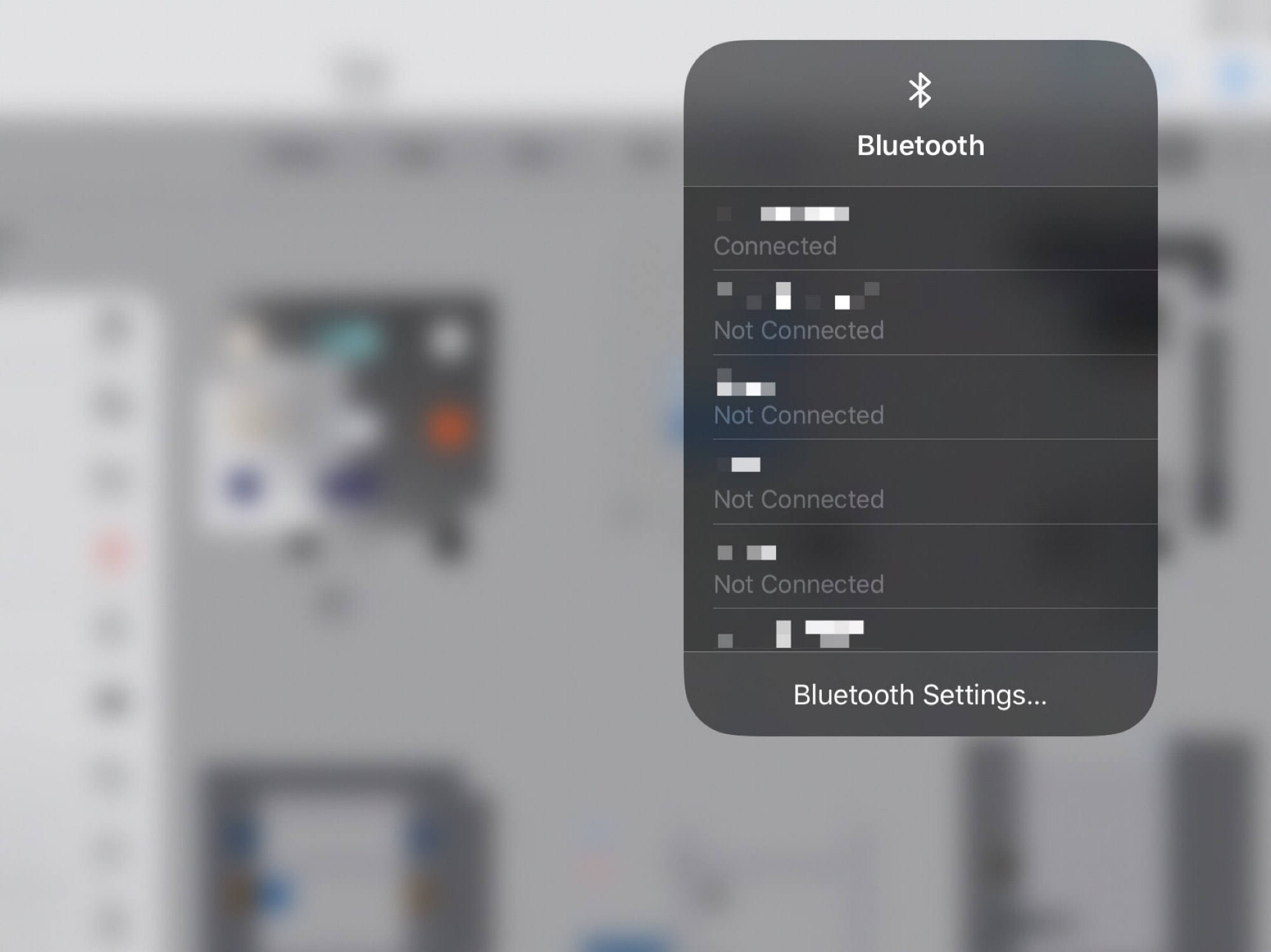 Connect to Bluetooth and Wi-Fi from the Control Center widget.