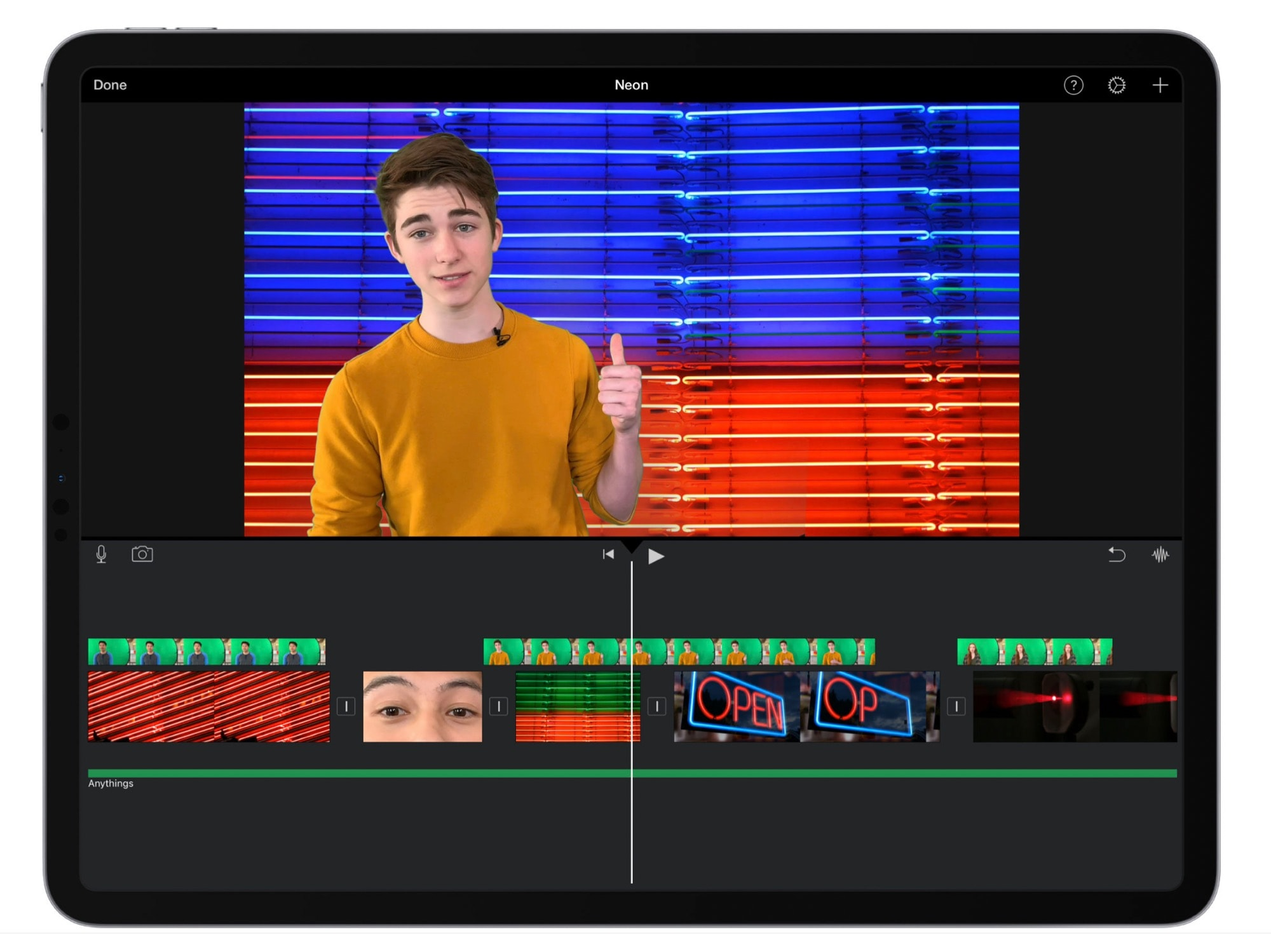 iMovie's new green-screen effect.