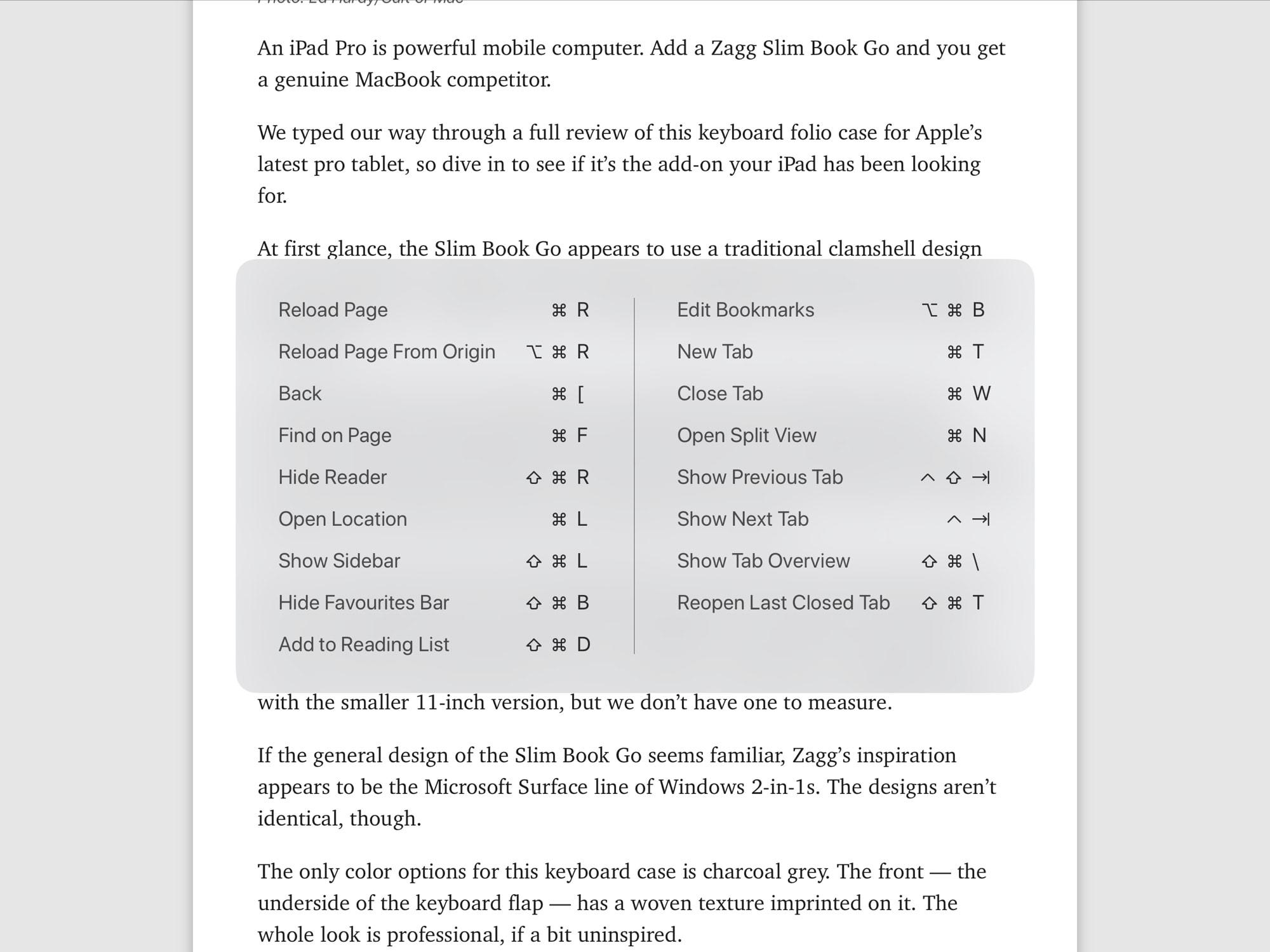 The iOS 12 keyboard shortcuts.