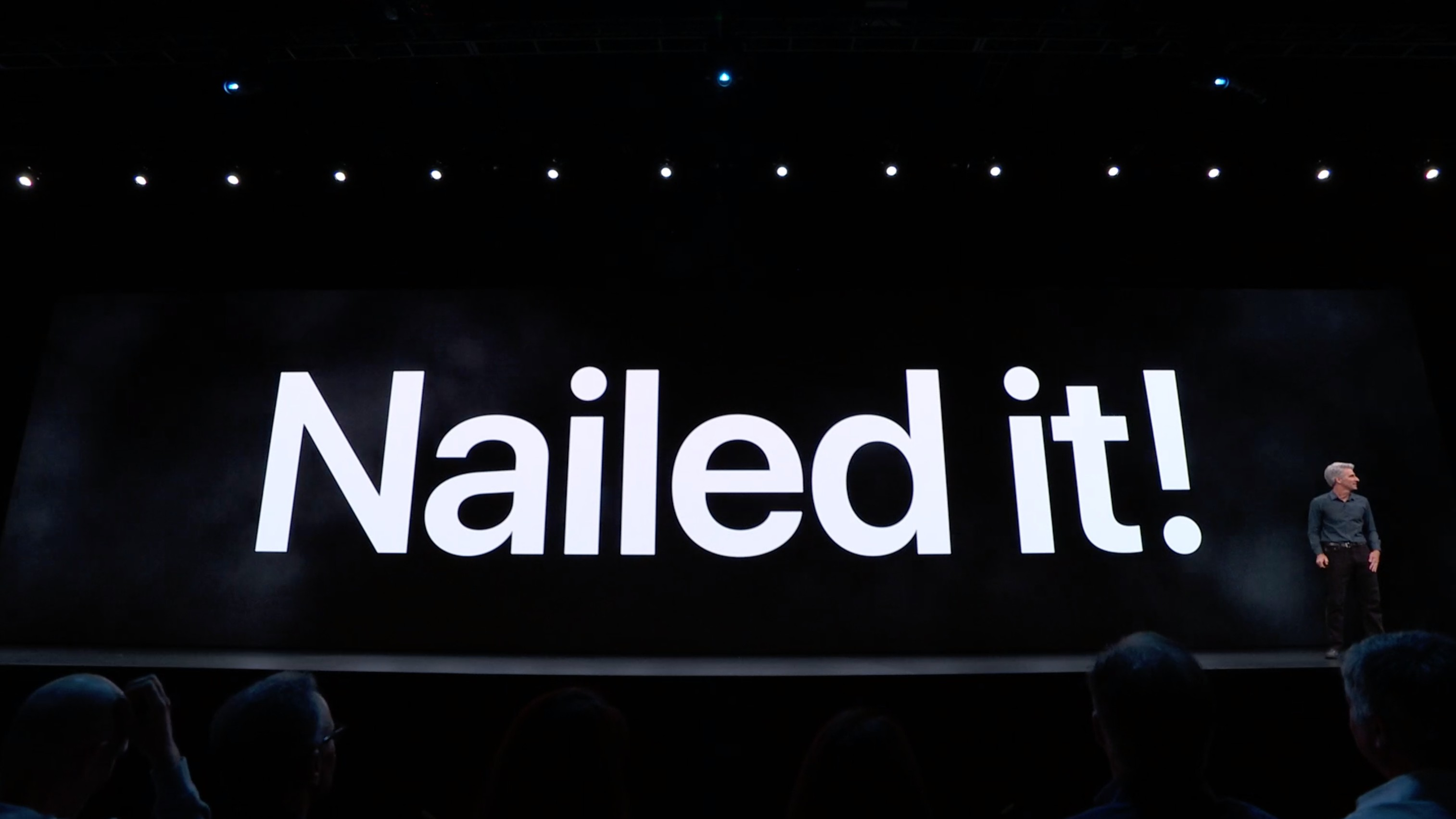 Nailed it! Craig Federighi onstage during the WWDC 2019 keynote.