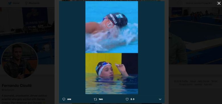 Swimmer races with AirPods