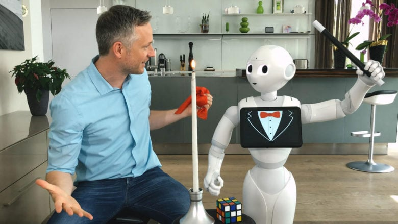 iPad magician Simon Pierro and his new assistant Pepper