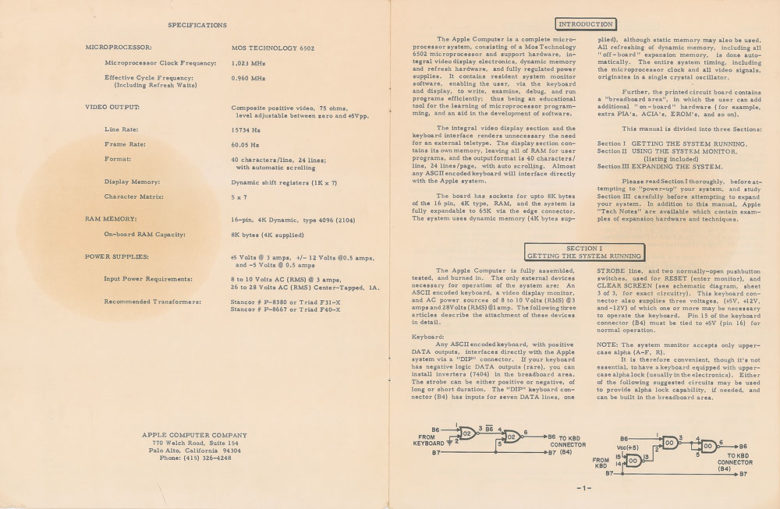 A page from the original Apple-1 documentation.