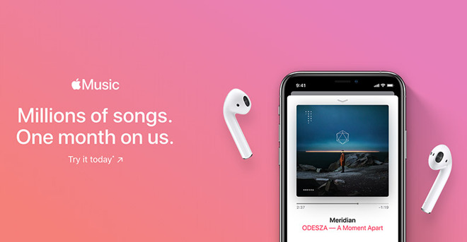 A new ad for Apple Music shows a one-month free trial.