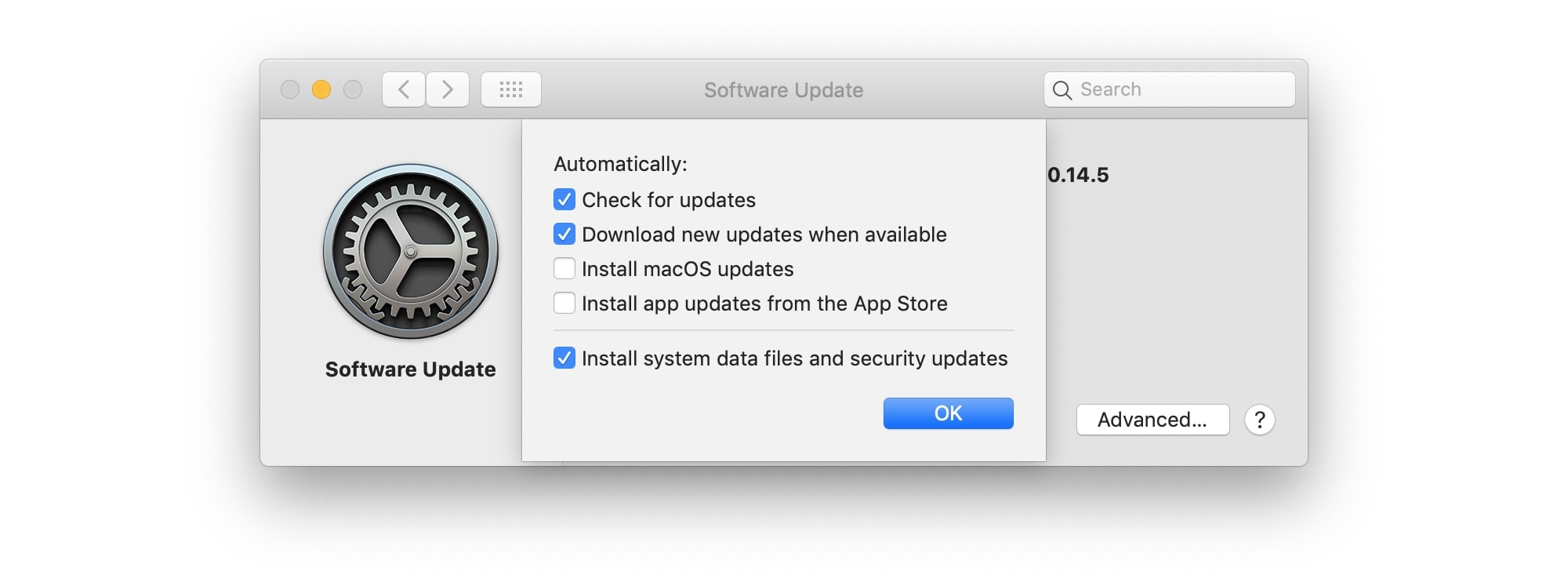 Mojave's secret update settings.