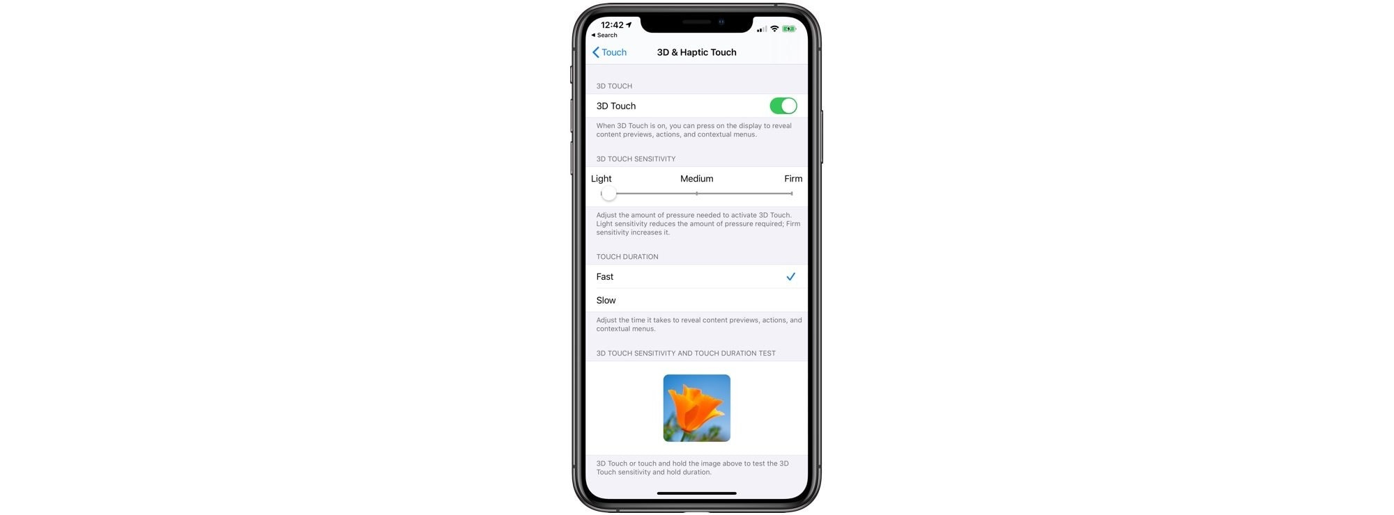 Select a short or long press to activate 3-D touch.