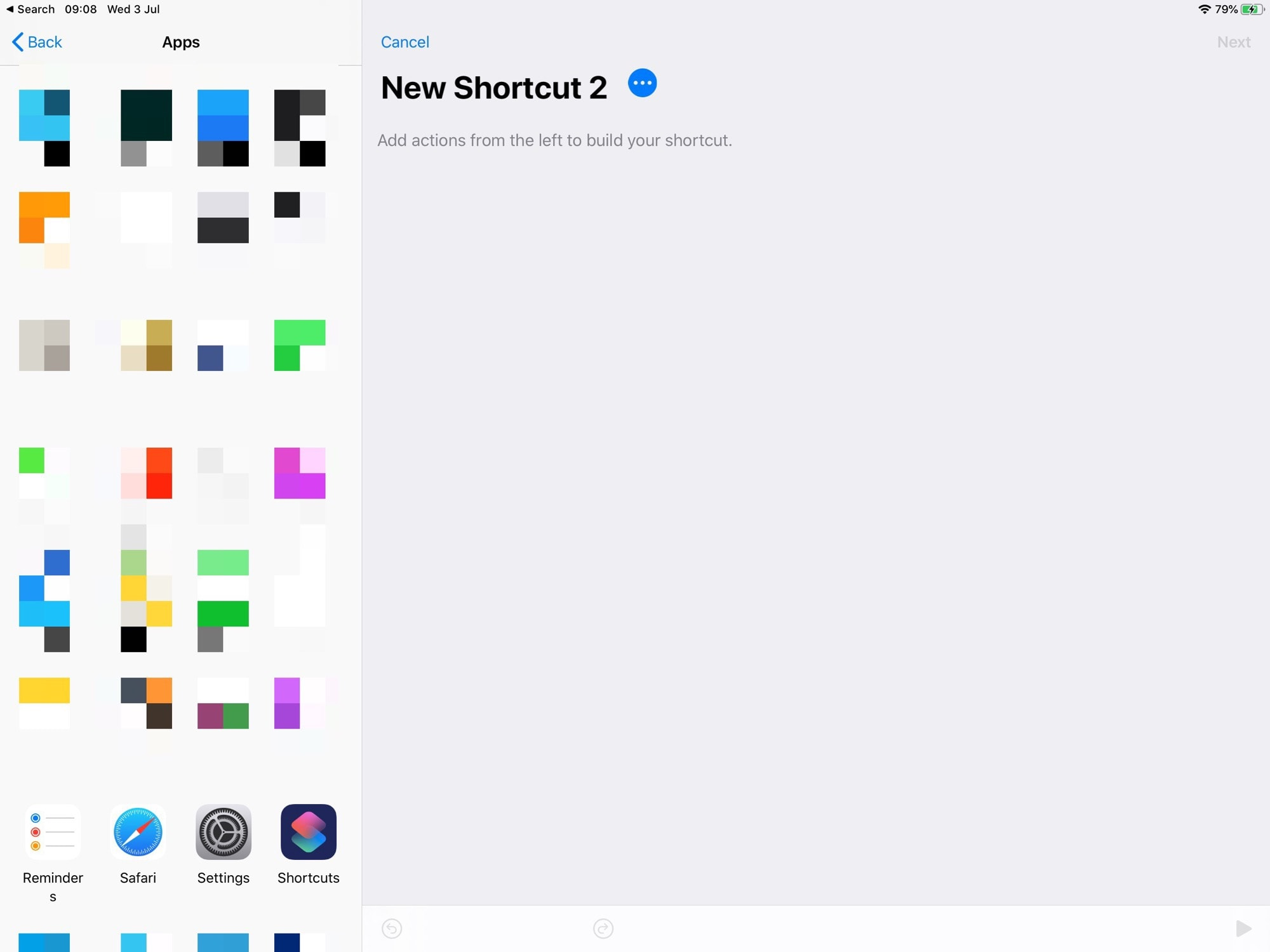 Tap an app to see its available shortcuts.