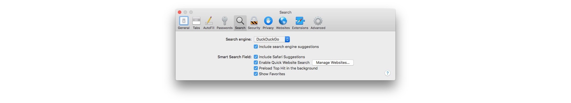 Here's where you can set DuckDuckGo as your default search engine for Safari on Mac.