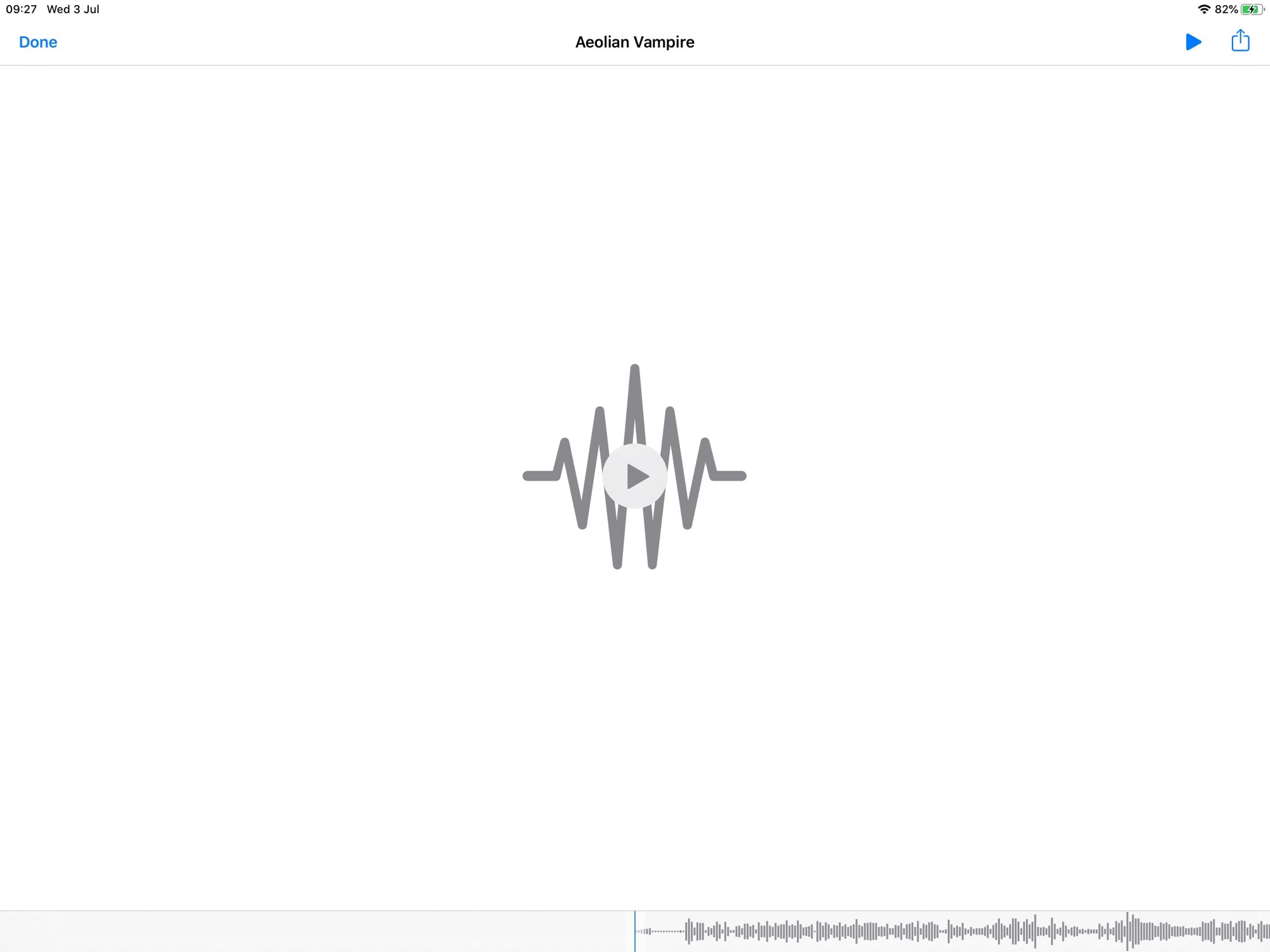 The iOS 13 Files media player, with scrubbable waveform.