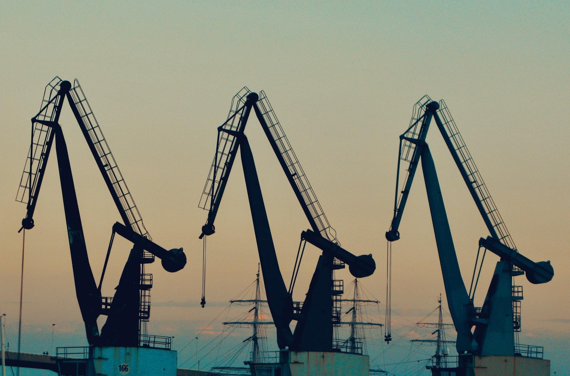 Hooks, on cranes.