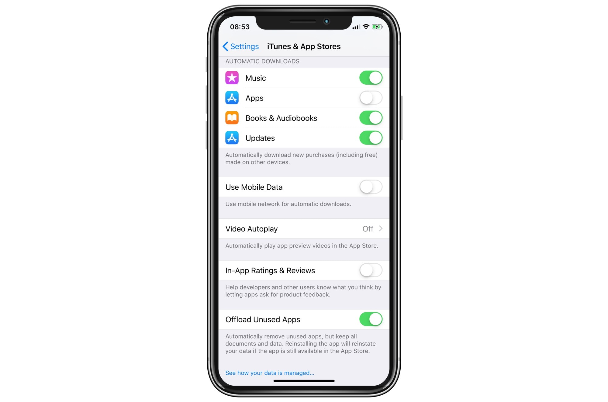Restrict App Store updates to Wi-Fi to save data while traveling.