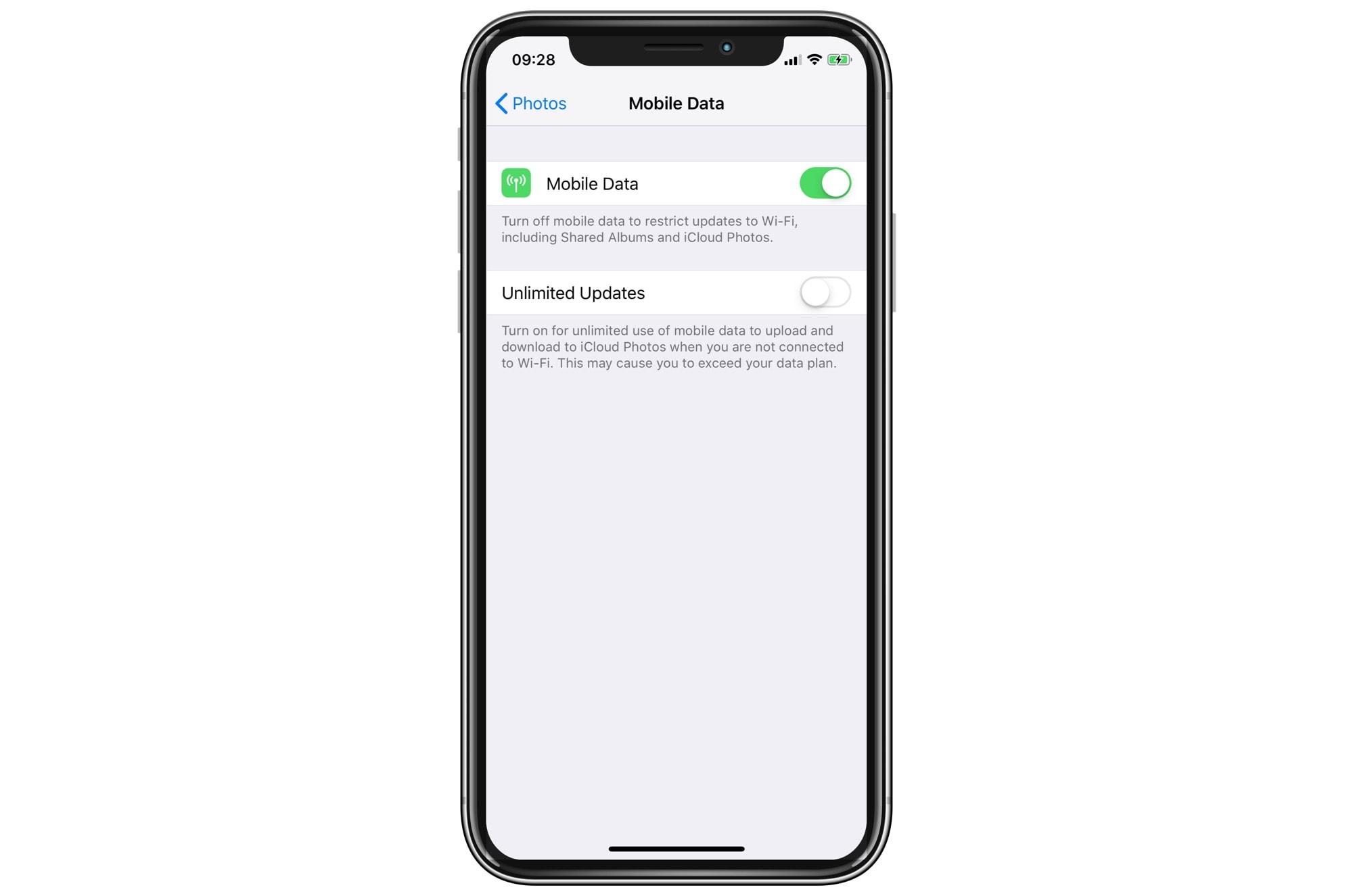 Apple Photos app data options.