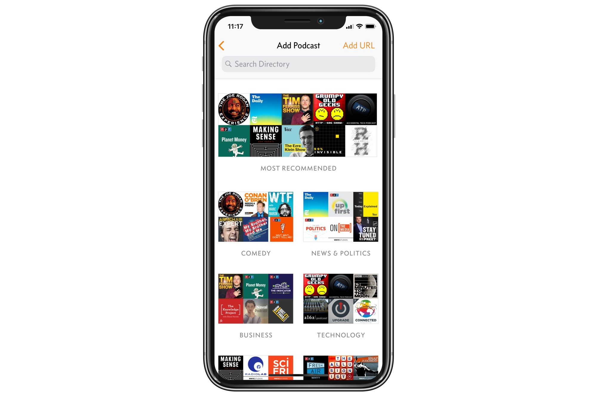 Overcast podcast recommendations are grouped by genre.