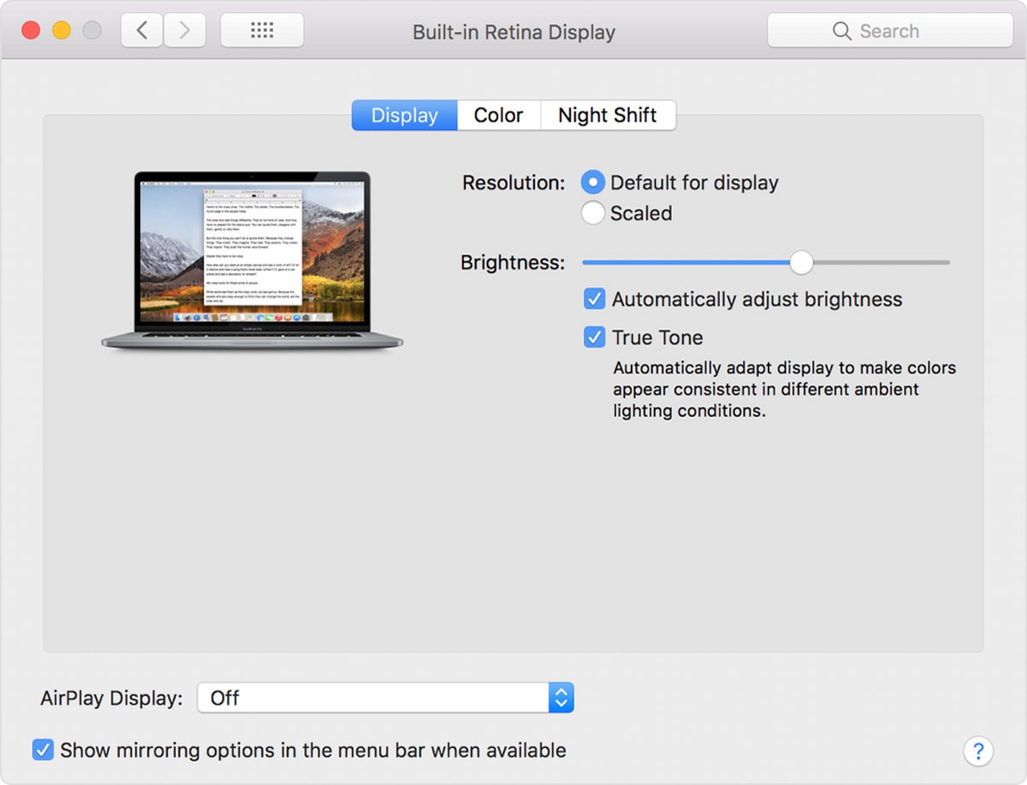 The MacBooks's True Tone Settings.