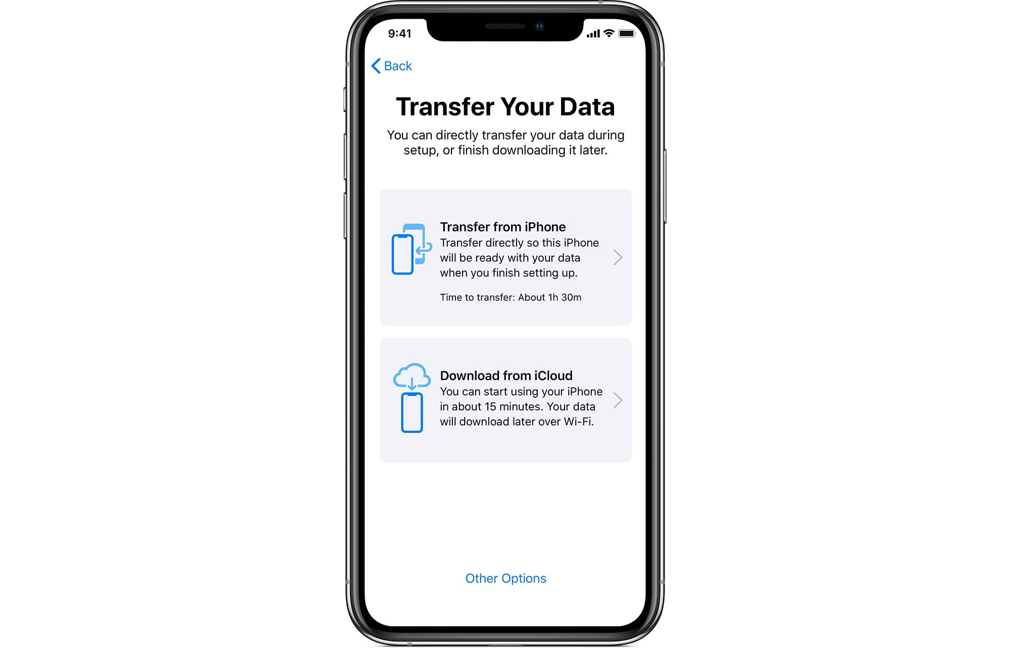 iPhone Migration appears as a new option on the Data Transfer screen.