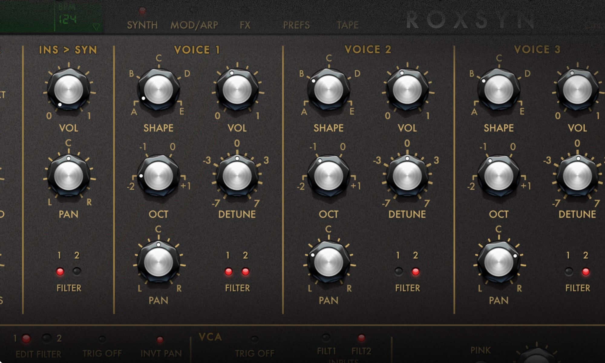 Many Roxsyn settings will seem familiar to synth users.