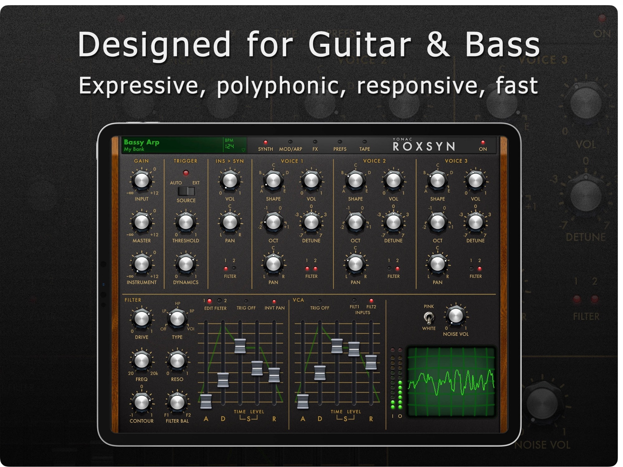 Roxsyn guitar synthesizer app has knobs!
