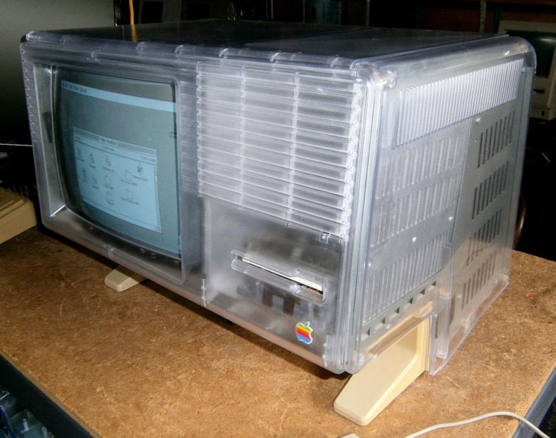 restored Apple Lisa with clear plastic housing