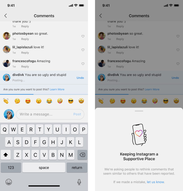 Instagram AI-powered tool gives user a chance to reflect on a questonable post