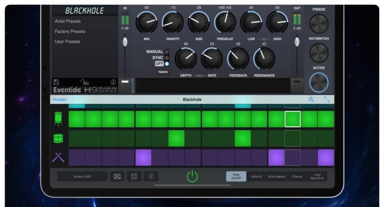 Eventide effects inside GarageBand on iPad.