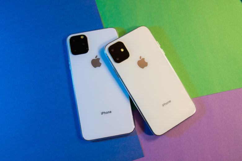 iPhone 11 R and 11 Max on colorful background