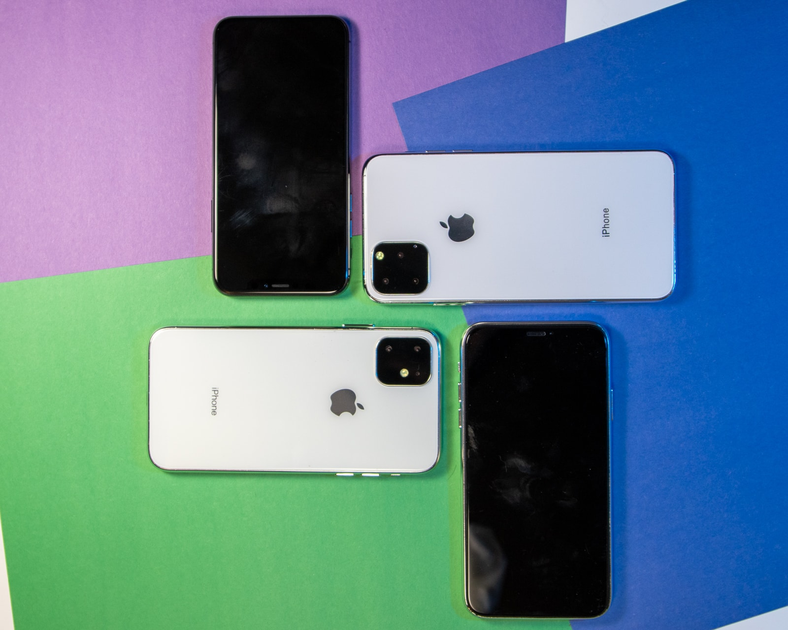 iPhone 10 and iPhone 11 models on colorful background