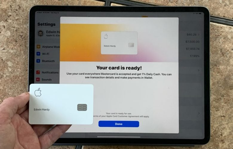 Apple Card with iPad