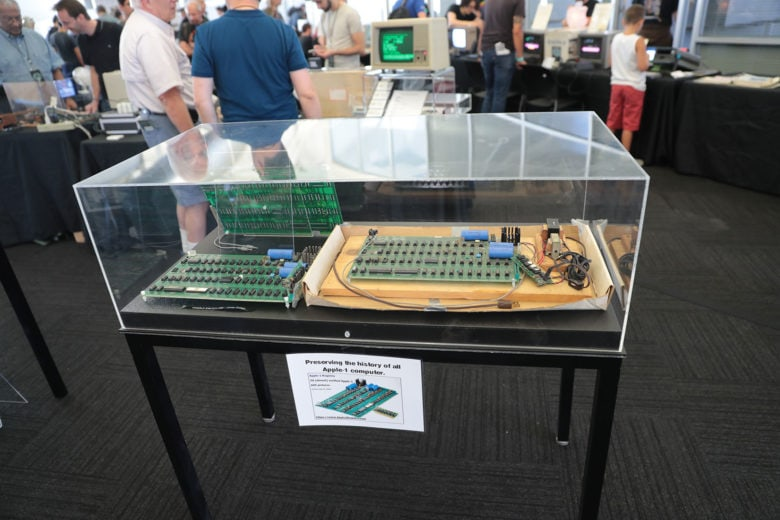 Boards for an Apple 1 on display at Vintage Computer Festival West