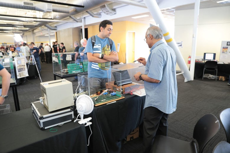 A demonstrator at the Apple 1 exhibit at Vintage Computer Festival West 2019