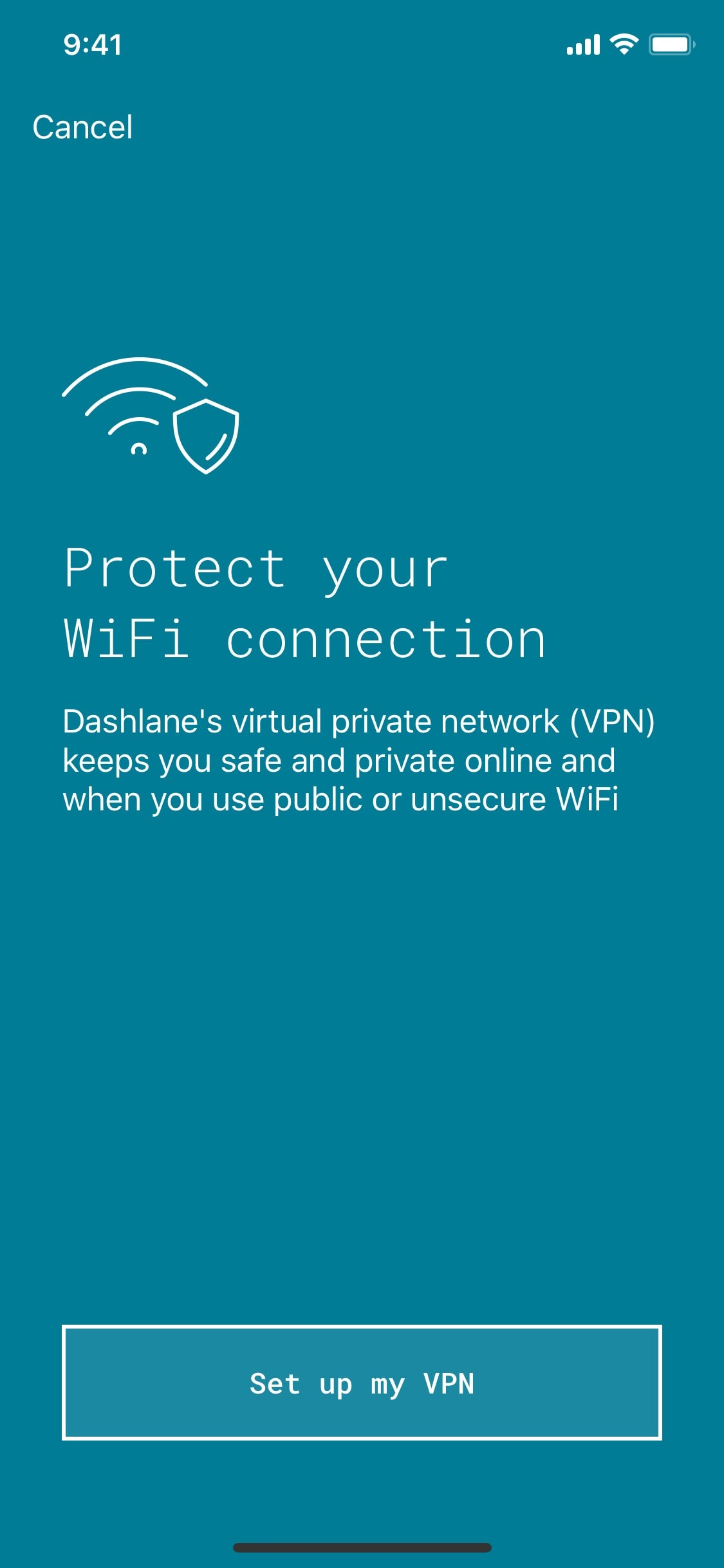 Stay safe on public Wi-Fi with Dashlane VPN on iOS.