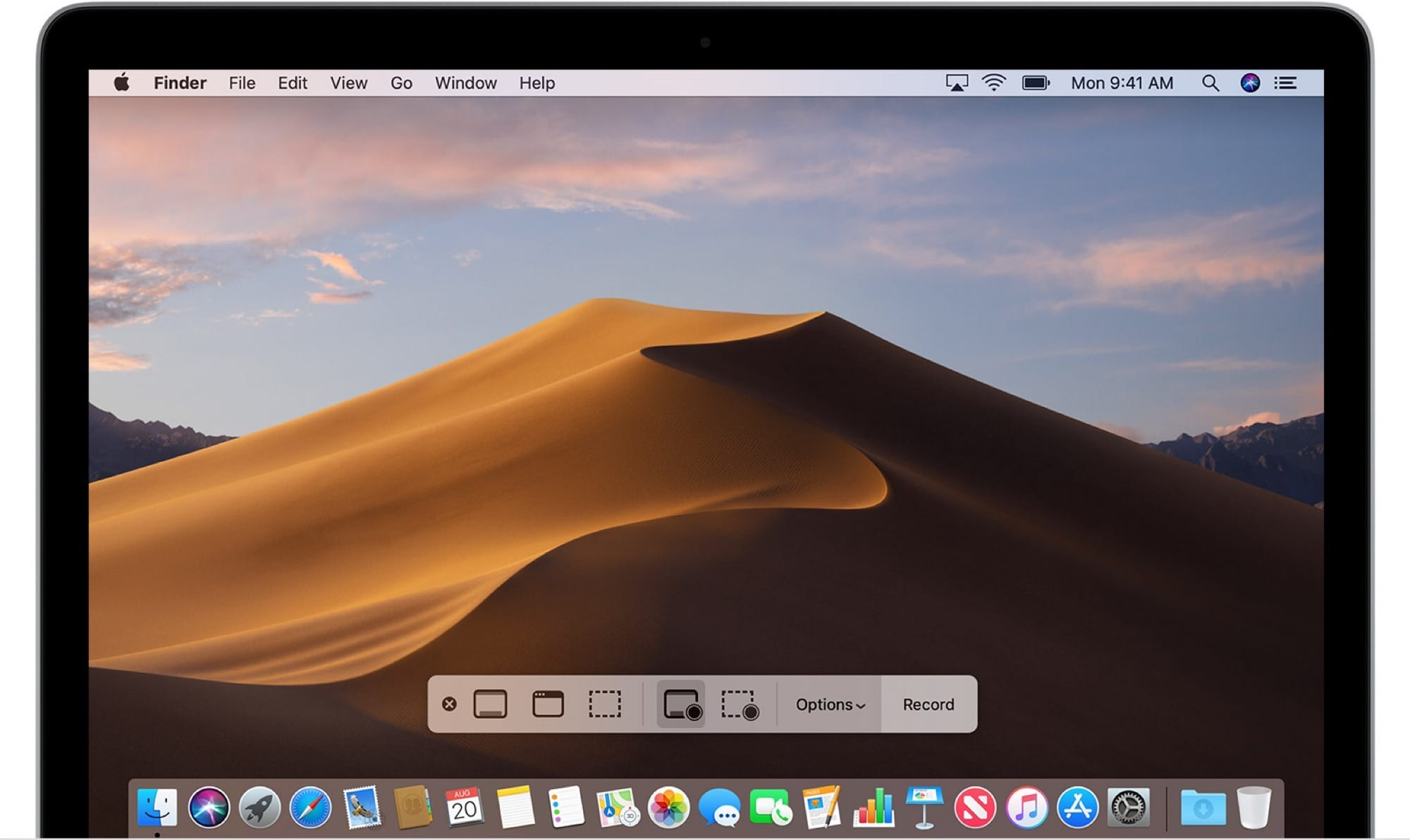 Mojave's ⌘⇧5 screen capture panel.