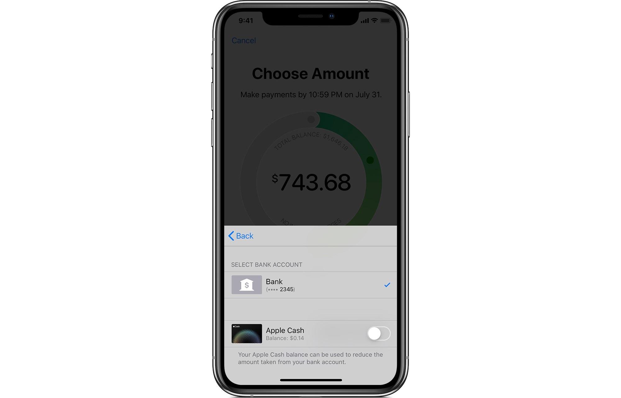 Puede usar su saldo de Apple Cash para pagar el saldo de su tarjeta de crédito.