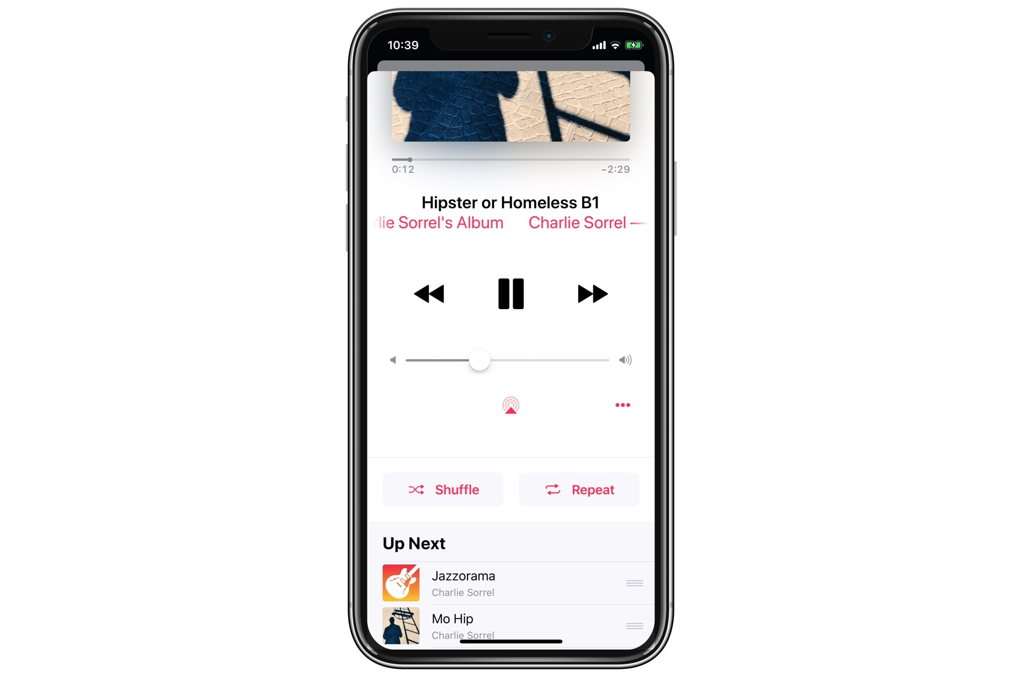 The old way to shuffle and repeat songs and albums in Apple Music.
