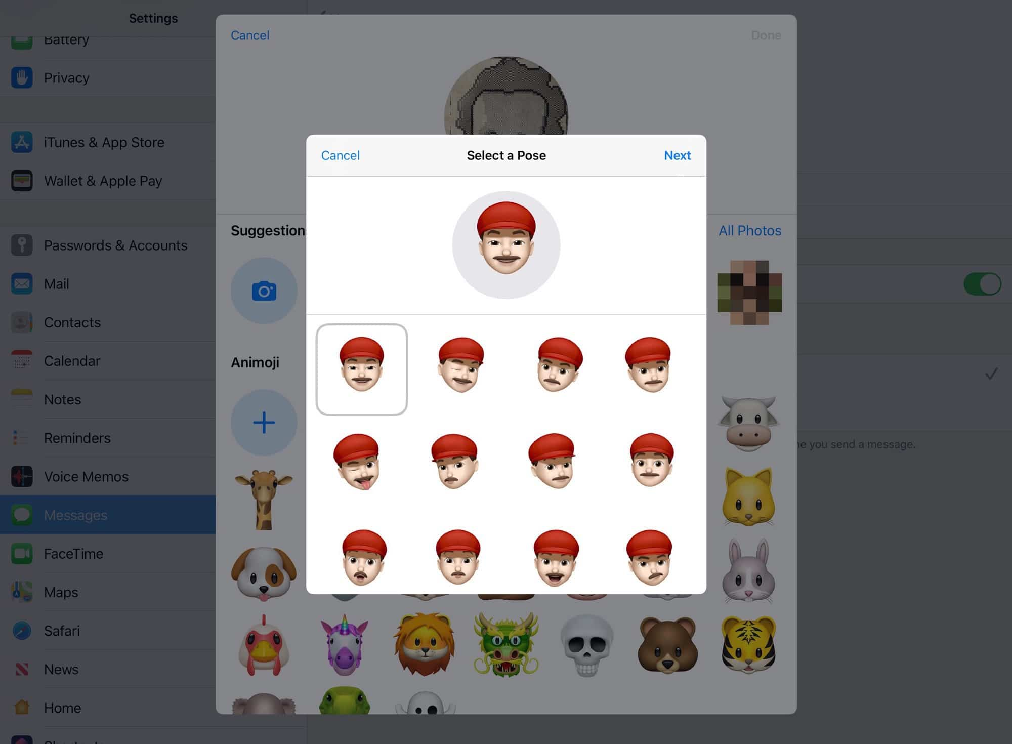 All your custom Memoji are available as stickers.