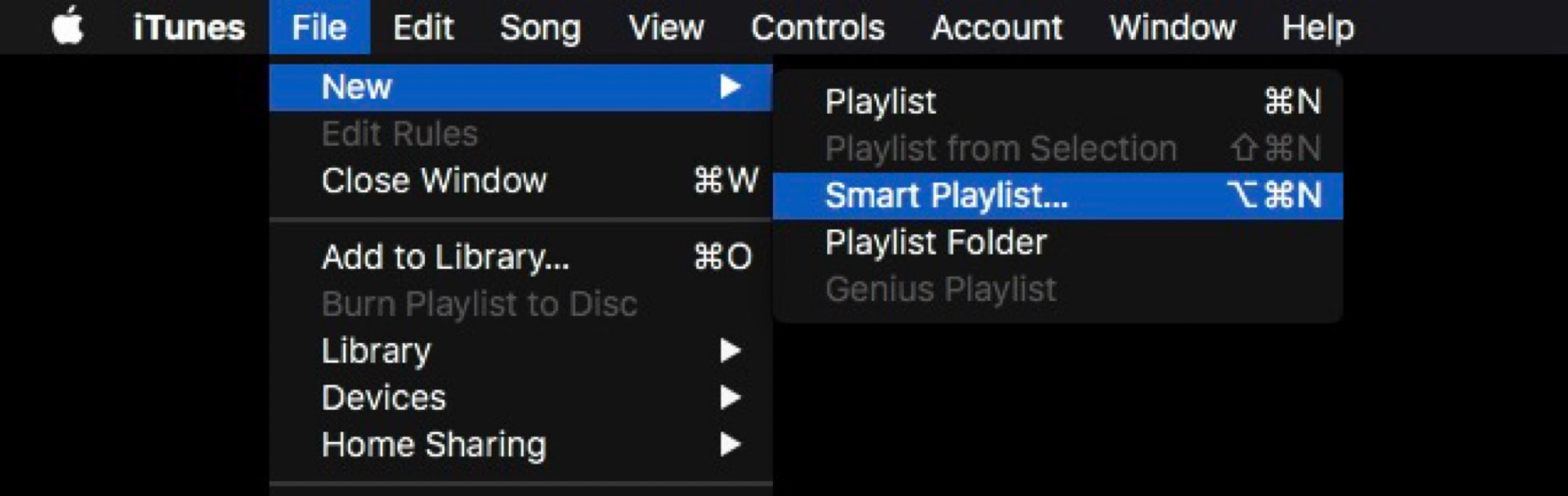 Create a new Smart Playlist in iTunes to get started.