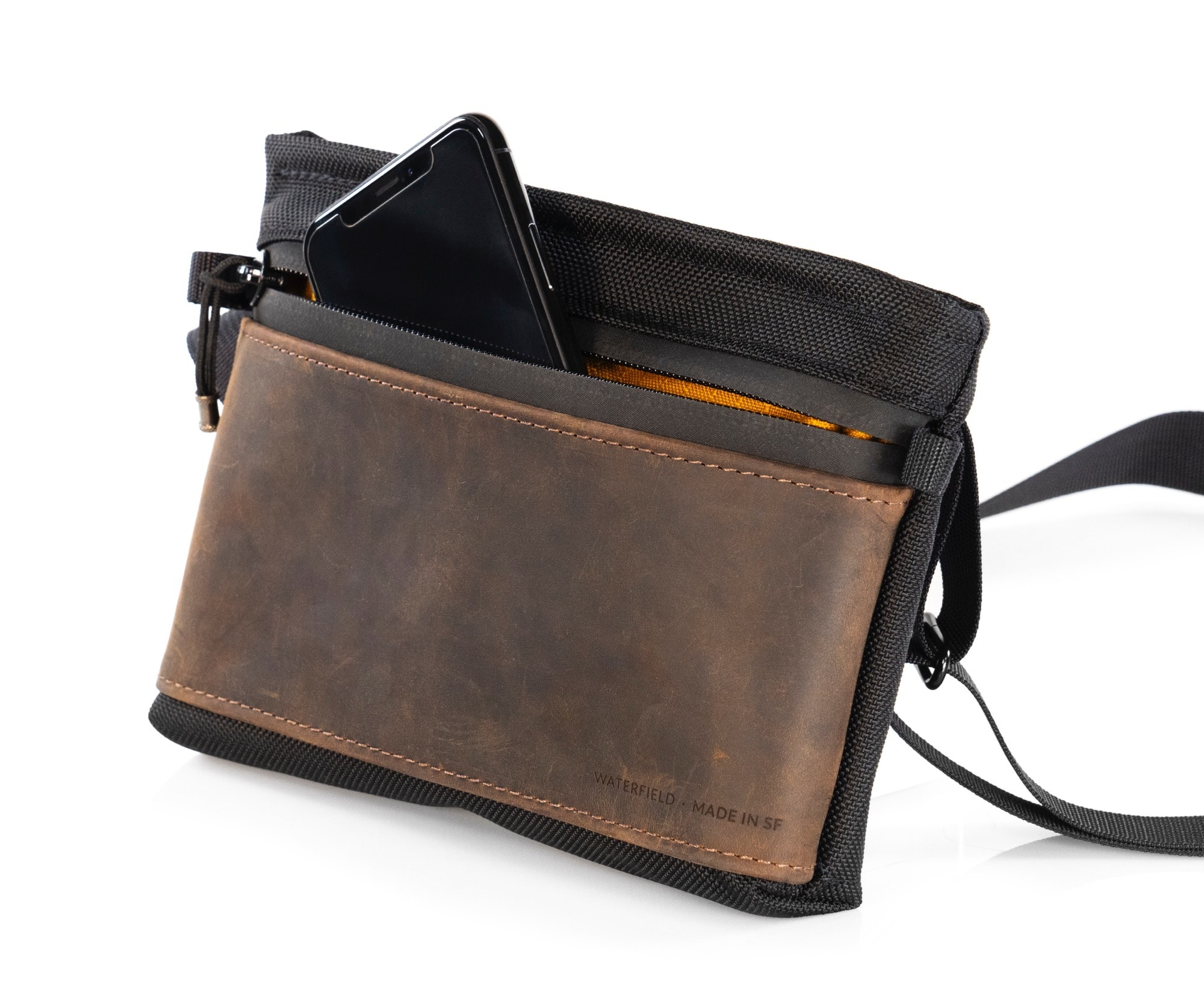 The front pocket of WaterField Designs Marqui Crossbody Pouch can fit any phone.