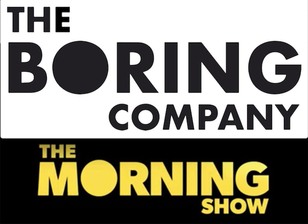 similar logos for Boring Co. and Morning Show