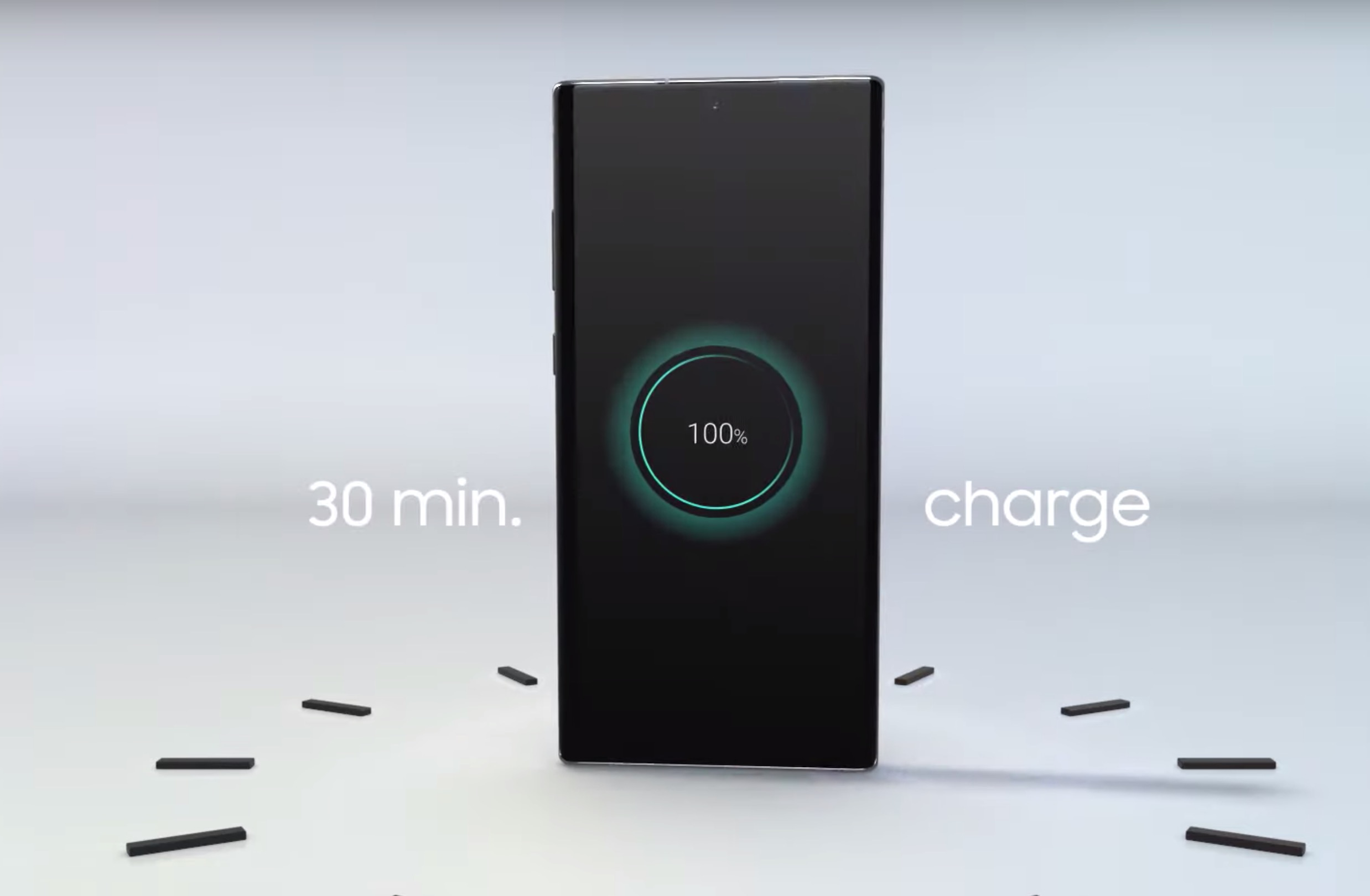 You can completely recharge the Galaxy Note 10 in just 30 minutes.