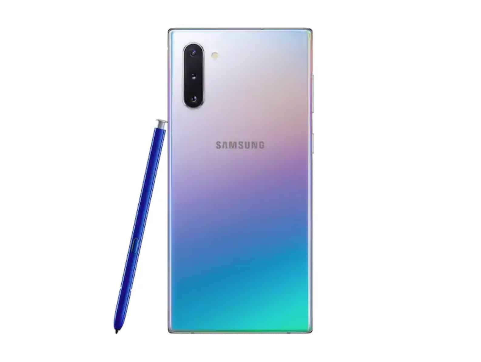 The new Galaxy Note 10 in the Aura Glow color. Apparently, iridescent is a big thing with the kids right now.