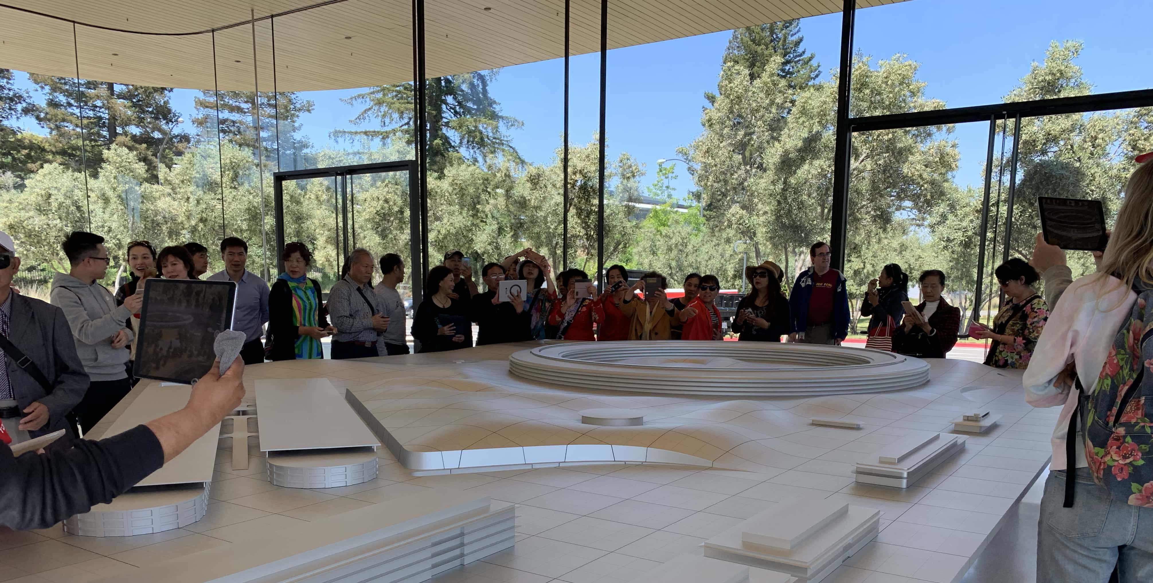 At Apple Park, tourists already use iPads to see virtual landmarks pop up on a model of the campus.
