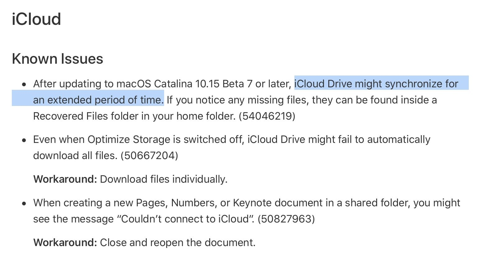 Apple's release notes show how shaky the new iCloud implementation was.