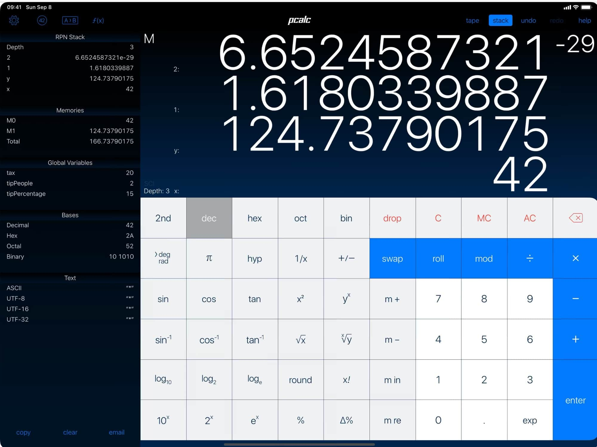 PCalc, the most absurdly capable calculator app.