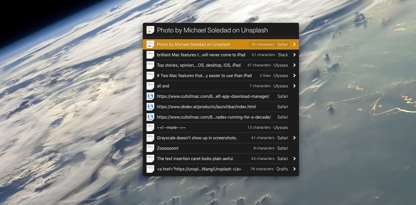 Launchbar can save up 100 clipboard items, or a week's worth of clippings.