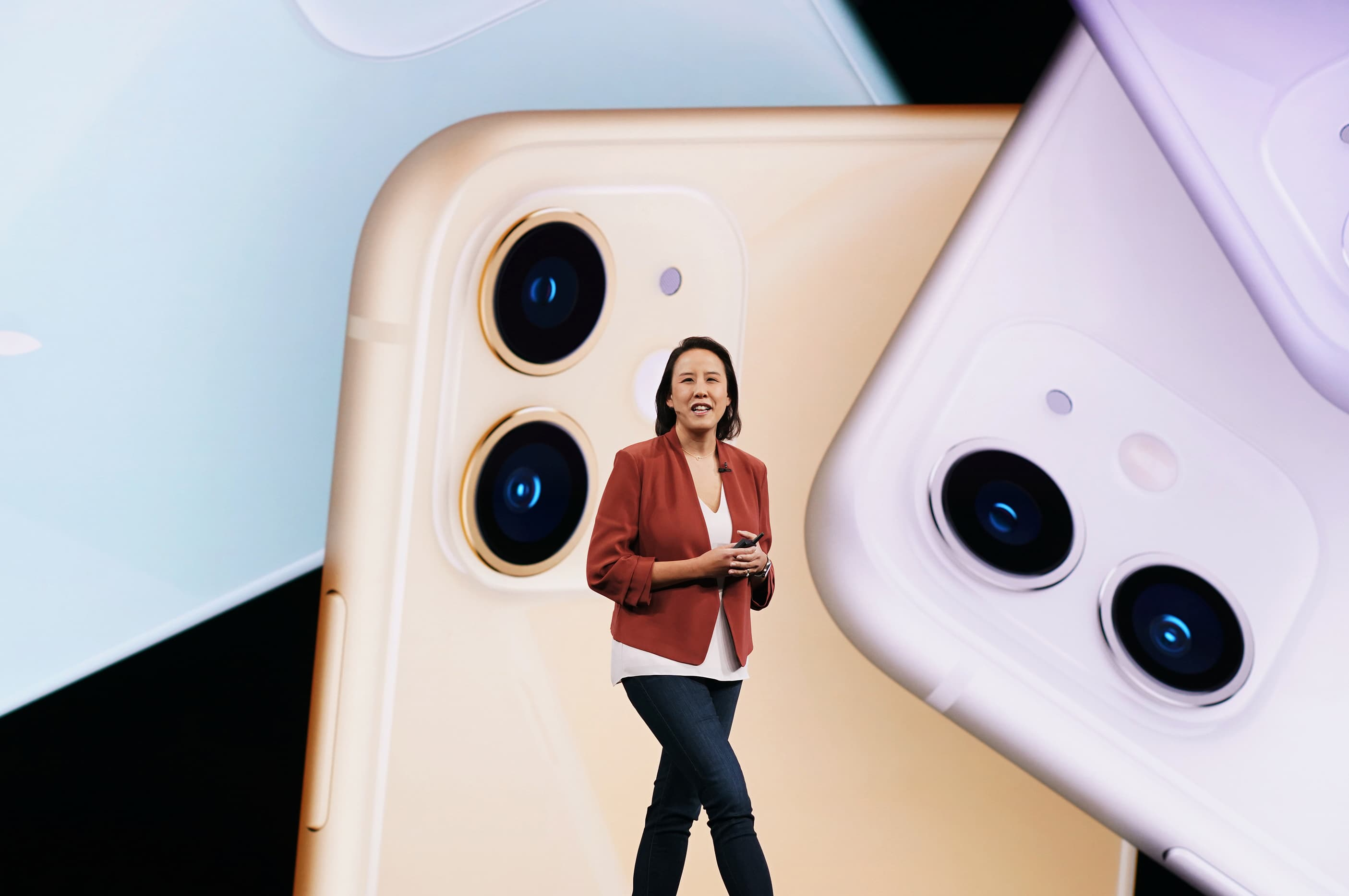 Apple marketing exec Kaiann Drance shows off the iPhone 11 during the By Innovation Only event.