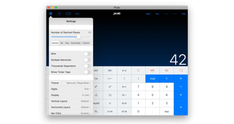 PCalc in macOS converted with Catalyst