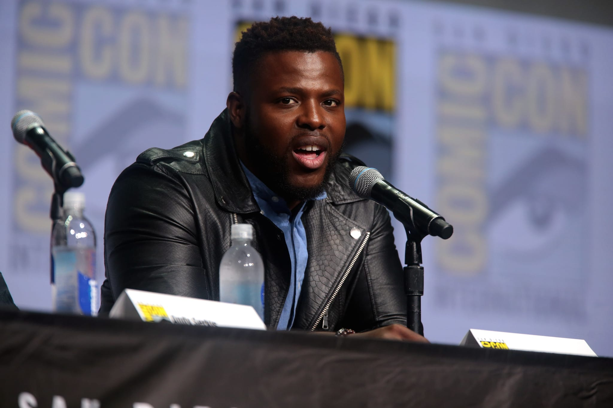 Winston Duke speaks at Comic-Con International in 2017.