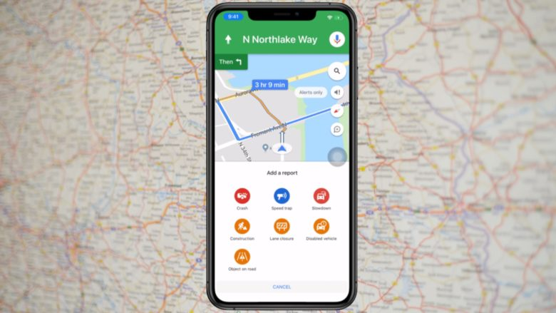 Report traffic problems with Google Maps