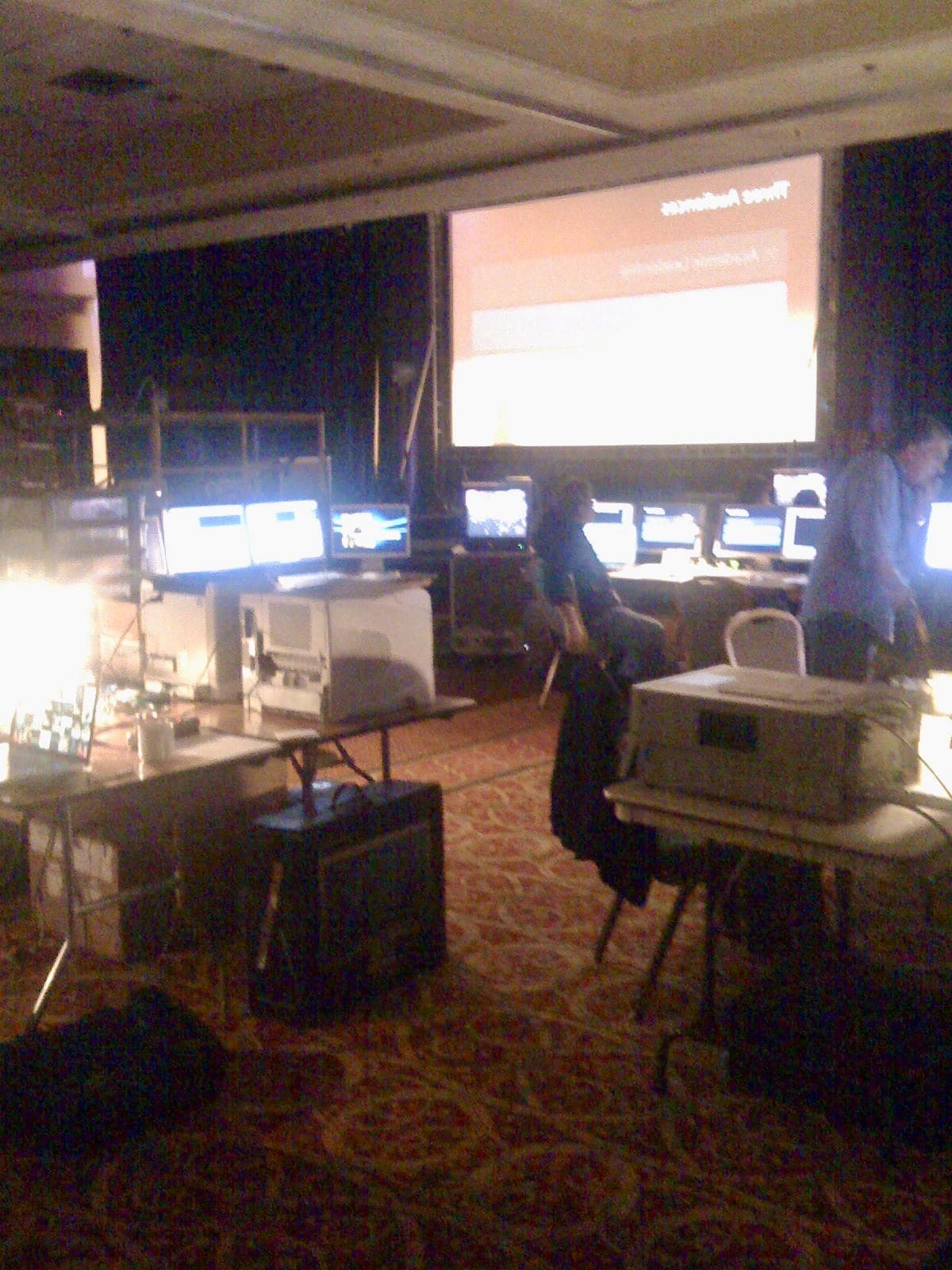 "A backstage picture from a 2008 Apple event, taken with an original iPhone, demonstrates the amount of ""performance"" these presentations require."