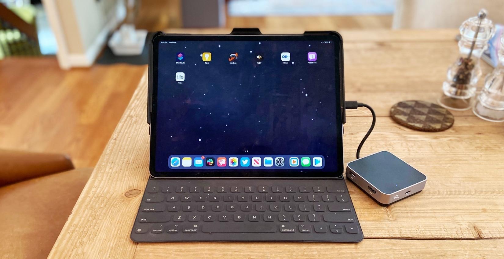 OWC USB-C Travel Dock with iPad Pro