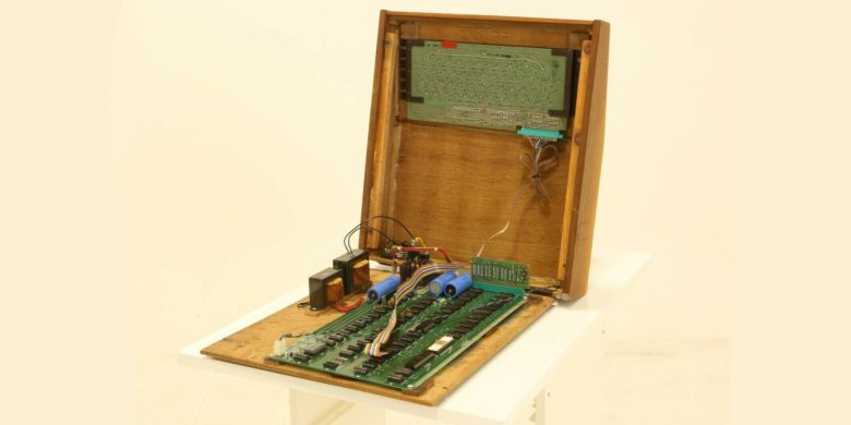 Inside an Apple-1 housed in a Byte Shop wooden case